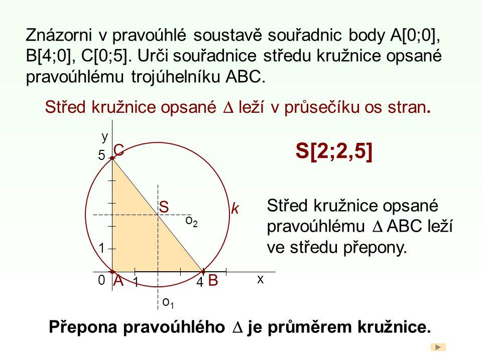 Znázorni v pravoúhlé soustavě souřadnic body A[0;0], B[4;0], C[0;5]